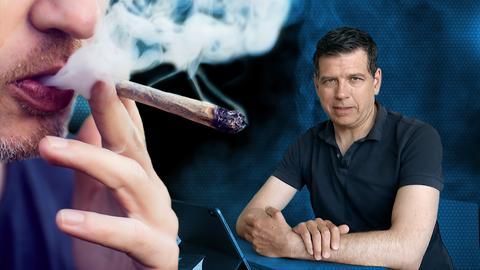 Nahaufnahme von Mund und Hand einer Person, die einen Joint raucht. Daneben ein Bild von Philipp Engel