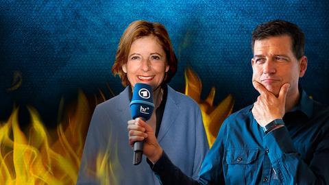 Philipp Engel mit einem Mikrofon und Malu Dreyer, im Hintergrund Flammen
