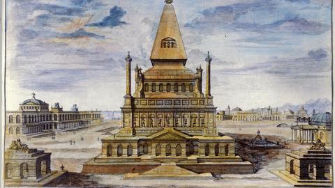 Mausoleum: erbaut von Pythos für Koenig Mausolos, gest. 353 v.Chr. ist eines der sieben Weltwunder der Antike. Kupferstich nach Zeichnung von Johann Bernhard Fischer von Erlach, um 1700, koloriert.