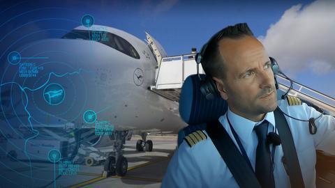 Pilot im Cockpit, im Hintergrund eine Boeing von Vorn.