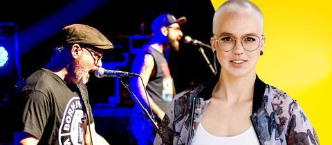 Host Stefanie Heinzmann im Vordergrund, im Hintergrund ein Konzert von ELFMORGEN
