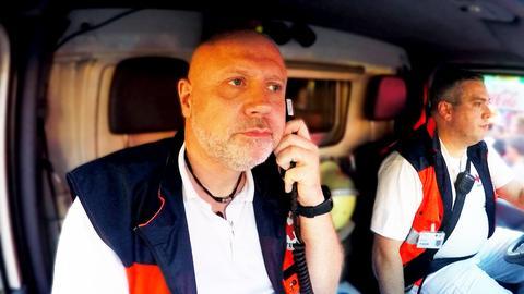 Rettungssanitäter im Krankenwagen