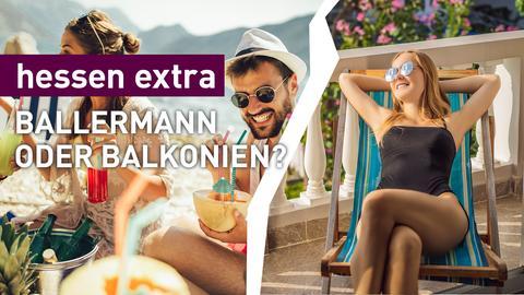 Mann trinkt Cocktail am Strand, Frau sonnst sich auf dem Balkon.