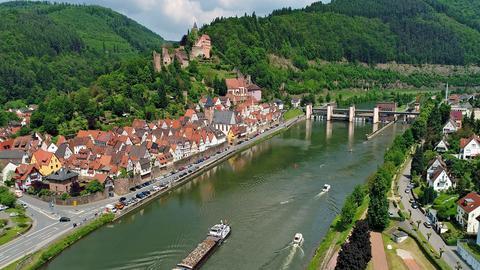 Der Neckar bei Hirschhorn im Odenwald.