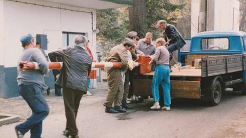 Abbau des Schlagbaumes 1989