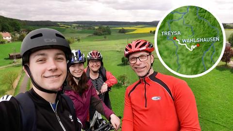 Familie Betschel auf dem Rotkäppchenradweg.