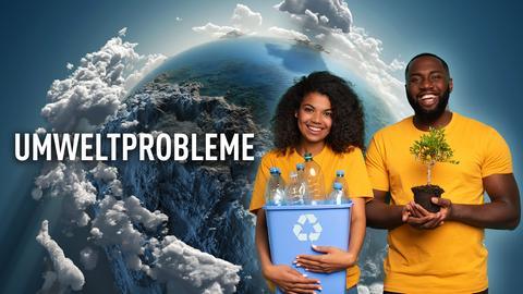 Ein Mann und eine Frau halten Mehrwegflaschen und ein kleines Bäumchen in den Händen, im Hintergrund die Erdkugel, wie man sie aus dem Weltraum sieht.