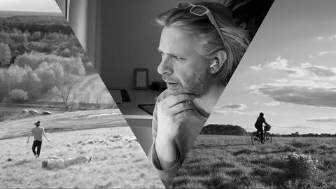 Ein Triptychon, in der Mitte ein Porträt eines Protagonisten, rechts ein Fahradfahrer auf einem Feldweg und links jemand, der über eine Wiese rennt.