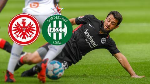 Ein Eintracht Frankfurt Spieler krätscht.