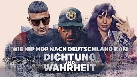 Die Rapper*innen (v.l.) Hafbefehl, Moses Pelham und LIZ vor der Frankfurter Skyline