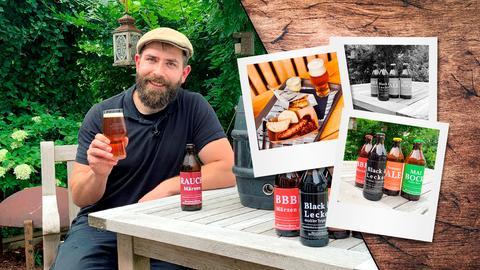 Protagonist prostet mit Craft-Bier in die Kamera. Auf drei Polaroid-Fotos neben ihm sind mehrere Beirflaschen mit bunten Etiketten und eine Portion Currywurst zu sehen. (Collage)