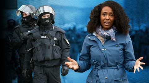 Moderatorin Anne Chebu und zwei Polizist:innen