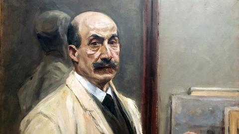 """Max Liebermann, """"Selbstbildnis mit Zigarette"""", 1910, ausgestellt in der Hamburger Kunsthalle."""