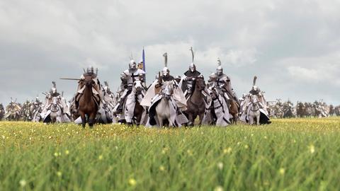 Die Deutschritterorden auf ihren Pferden.