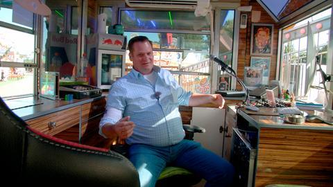 Dennis Ruppert im Cockpit seines Frisbee.