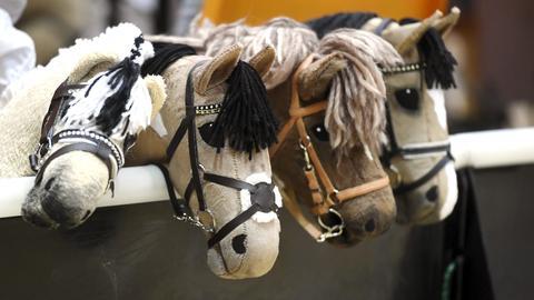 """""""Hobby Horses"""" bzw. Steckenpferde nebeneinander."""