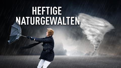 Junge Frau im Sturm mit übergeklapptem Regenschirm. Collage.