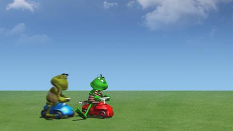 Fridolin und Kröti beim Bobbycar-Rennen