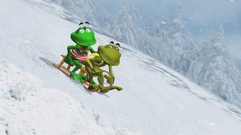 Fridolin und Kröti beim Schlittenfahren