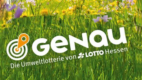 """Thomas Ranft vor einem Logo der """"Genau""""-Umweltlotterie"""