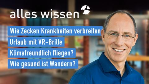 Heutige Themen sind u.a.: Wie Zecken Krankheiten verbreiten, Urlaub mit VR-Brille, Klimafreundlich fliegen?, Wie gesund ist Wandern?