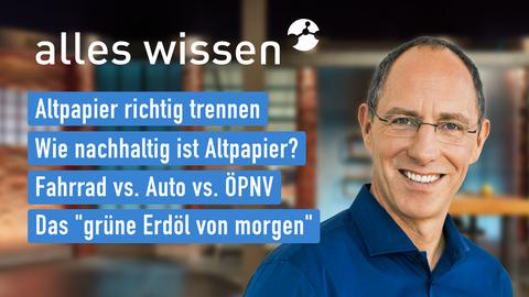 """Themen sind u.a.: Altpapier richtig trennen, Wie nachhaltig ist Altpapier?, Fahrrad vs. Auto vs. ÖPNV, Das """"grüne Erdöl von morgen""""."""