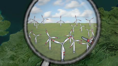 Windräder auf einer Landkarte