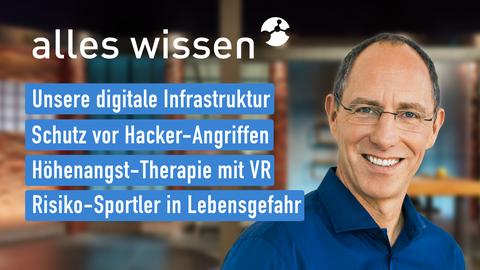 Themen sind u.a.: Unsere digitale Infrastruktur, Schutz vor Hacker-Angriffen, Höhenangst-Therapie mit VR, Risiko-Sportler in Lebensgefahr.