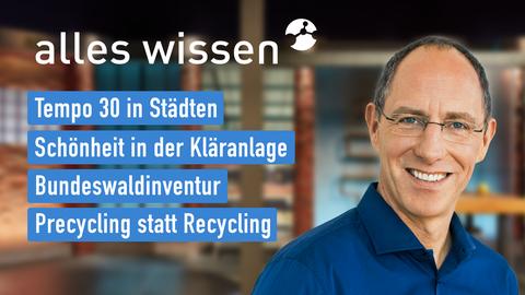 Moderator Thomas Ranft sowie die Themen: Tempo 30 in Städten, Schönheit in der Kläranlage, Bundeswaldinventur, Precycling statt Recycling