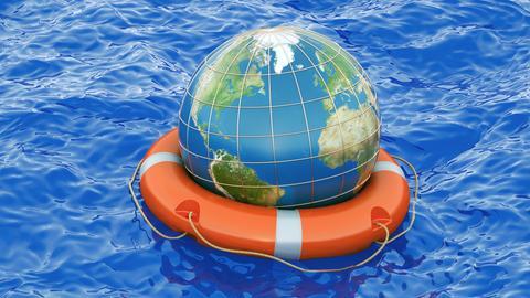 Globus mit Rettungsring