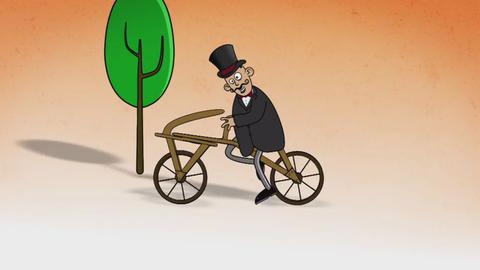 Illustrierter Mann mit Zylinder und Zwirbelbart auf altem Fahrrad.
