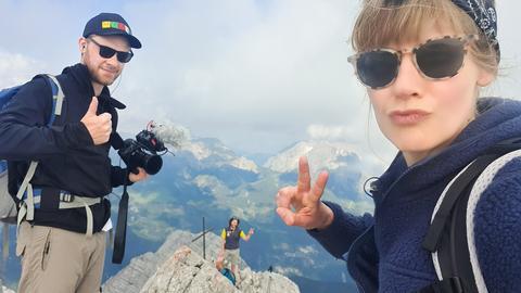 Nina Heins und Jonas Weinhold auf dem Gipfel.
