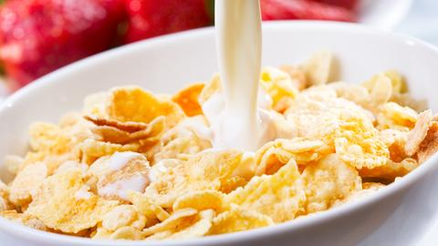 Milch wird in eine Schüssel voller Cornflakes gegossen. Im Hintergrund sind Erdbeeren.