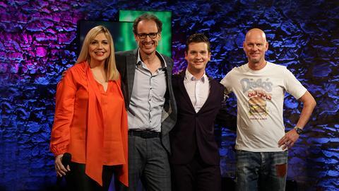 Mirja Regensburg mit ihren Gästen Dietrich Faber, Tim Becker und Rüdiger Hoffmann
