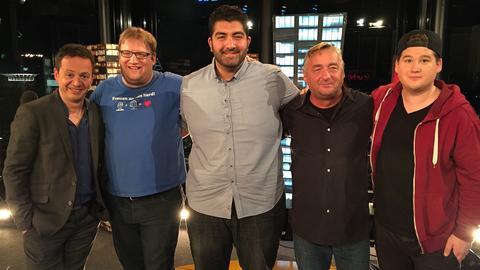 Da lacht die Nacht (v.li.): Roberto Cappelluti mit Jens Heinrich Claassen, Faisal Kawusi, Andreas Vitasek und Chris Tall.