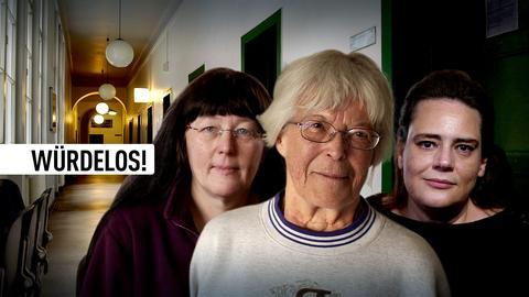 Drei Protagonistinnen der Sendungen vor Sozialamt-Hintergrund. Text: Würdelos!