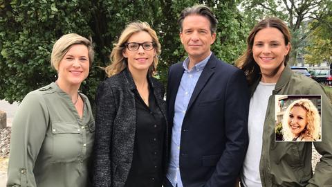 Das Team (v.li.): Manon Baehr, Ramona Petrov, Robert Hübner, Claudia Banse; im kleinen Bild: Anne-Katharina Lauf