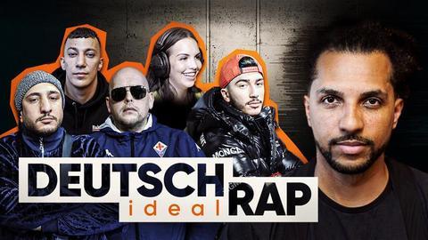 """Moderator Simon Vogt mit Rapgrößen wie Farid Bang oder Celo und Abdi sowie das """"Deutschrap ideal""""-Logo."""