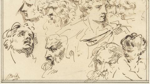 Studienskizze mit zehn Köpfen von Künstler Jacob de Wit (1705 - 1754).