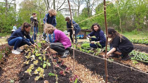 Protagonist*innen graben gemeinsam in Gartenbeeten.