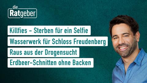 """Die Themen bei """"Die Ratgeber"""" am 2. Juni: Killfies - Sterben für ein Selfie, Wasserwerk für Schloss Freudenberg, Raus aus der Drogensucht, Erdbeer-Schnitten ohne Backen"""