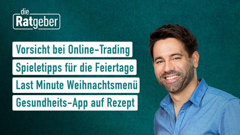 Themen sind u.a.: Vorsicht beim Online-Trading, Spieletipps für die Feiertage, Last Minute Weihnachtsmenü, Gesundheits-App auf Rezept.