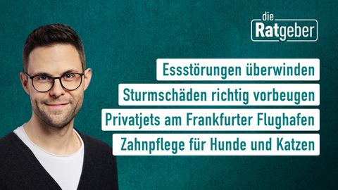 Moderator Kai Fischer sowie die Themen: Essstörungen überwinden, Sturmschäden richtig vorbeigen, Privatjets am Frankfurter Flughafen, Zahnpflege für Hunde und Katzen