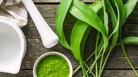 Schälchen mit Pesto, Stößel und Bärlauch-Blättern
