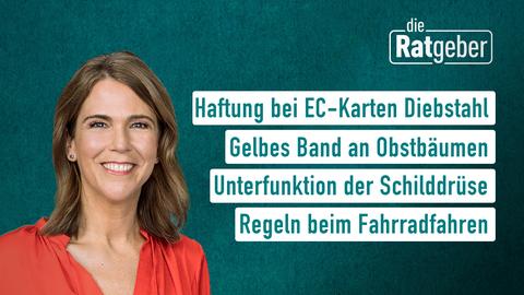 Moderatorin Anne Brüning sowie die Themen: Haftung bei EC-Karten Diebstahl, Gelbes Band an Obstbäumen, Unterfunktion der Schilddrüse, Regeln beim Fahrradfahren