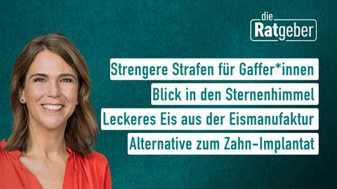 Moderatorin Anne Brüning sowie die Themen: Strengere Strafen für Gaffer*innen, Blick in den Sternenhimmel, Leckeres Eis aus der Eismanufaktur, Alternative zum Zahn-Implantat
