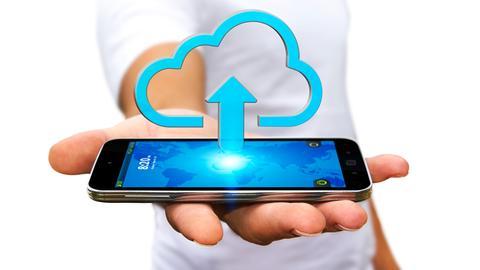 Handy mit Cloud-Wolke (Grafik)