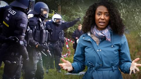 engel fragt-Moderatorin Anne Chebu neben einer Polizeitruppe im Wald (Montage).