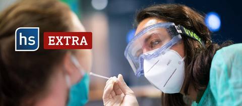 hessenschau extra: Eine Ärztin macht einen Corona-Test