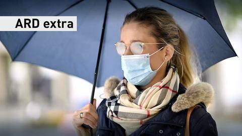 Frau mit Regenschirm und Mund-Nasen-Bedeckung im Herbst